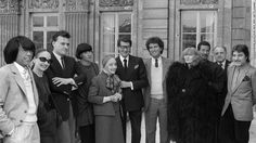 Issey Miyake (third from the right) with Kenzo Takada, Anne-Marie Beretta, Jean-Charles de Castelbajac, Chantal Thomass, Alix Gres, Yves Saint-Laurent, French Minister of Culture Jack Lang, Sonia Rykiel, Pierre Bergé and Emanuel Ungaro in 1984.