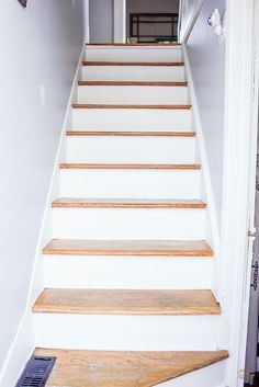 DIY White and Wood Staircase