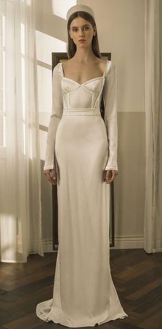 Ronalina 2020 Wedding Dresses : 2020 Bridal Collection Pretty Wedding Dresses, Wedding Gowns, Simple Dresses, Formal Dresses, Sheer Beauty, Silk Organza, Lace Sleeves, Bridal Looks
