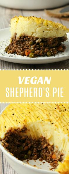 Filling and comforting vegan shepherd's pie made with a delicious veggie-packed veggie mince and creamy mashed potatoes. Perfect for a hearty vegan dinner. Vegan Dinner Recipes, Delicious Vegan Recipes, Whole Food Recipes, Vegetarian Recipes, Cooking Recipes, Beef Recipes, Veggie Mince Recipes, Vegetarian Options, Vegan