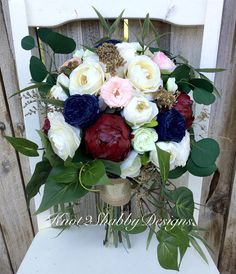 Dried flower bouquet Gold bridal bouquet by Knot2ShabbyDesigns