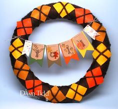 Fall wreath and banner, home decor