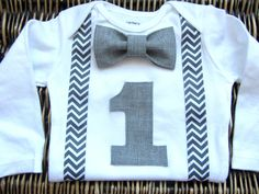"""First Birthday outfit. Would be cool to make this myself for baby to wear for pics, the cake smash, or at the party  :-)  Cute as is for a boy or could also modify for a girl by adding a """"necklace,"""" bow, and doing without suspenders."""