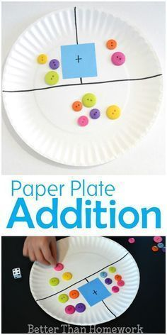Make a simple DIY paper plate addition game to help your child practice their addition and even subtraction skills kindergarten Paper Plate Addition Game Preschool Learning, Kindergarten Activities, Teaching Math, Learning Activities, Activities For 5 Year Olds, Kindergarten Smorgasboard, Word Family Activities, Rhyming Activities, Kindergarten Math Activities