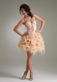 Ball Gown Sweetheart Strapless Short/ Mini in Satin Feather Homecoming Dress