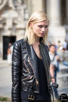 Leather moto jacket perfection.