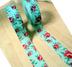 mint shabby chic flower washi tape 1roll  birthday party, decoration, card, $2.50