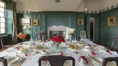 The dining room at Standen dressed for Christmas