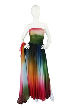 1970s Bill Blass Couture Ombre Gown