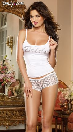 Yandy has over 400 unique bridal lingerie options like this First Kiss Bridal Tank And Panty available now. Get a free lace panty with every order. #Yandy