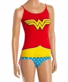 Yellow & Red Wonder Woman Tank & Bikini Briefs - Women -- you know you've wanted this since 1980's underoos!