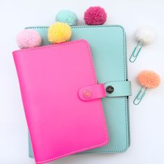 Candy Bliss Pom Poms with a mint coated paperclip are available in six colors.
