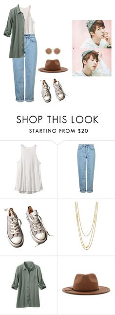 """""""Long train journey with Jin"""" by got7outfits ❤ liked on Polyvore featuring RVCA, Topshop, Converse, Gorjana, Forever 21 and House of Holland"""