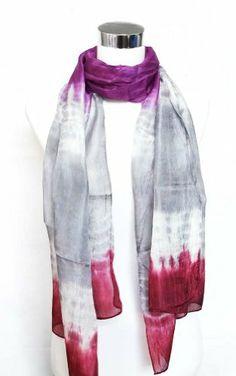 "100% Habotai Silk Tie Dye Crinkled Long Scarf 21"" x 72"" - Purple/Gray/Dark Red Silkcharm,http://www.amazon.com/dp/B009Z9GZYW/ref=cm_sw_r_pi_dp_vFOBtb1S2NAA873A"