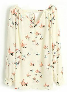 Beige Long Sleeve Cut Out Tie Front Bird Chiffon Blouse pictures