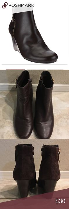 Leather & Suede Ankle Boot Isaac Mizraah Size 9W Leather & Suede Wedge Ankle Boot in coffee bean. Only used about 5 times. Suede back with gold tone zipper detail on outside. Super cute and comfy able boot. Isaac Mizrahi Shoes Ankle Boots & Booties