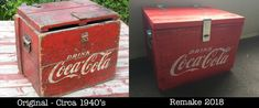 Coca-Cola Wooden Chest Cooler.  I found the image on the left and decided to make my own (since finding one in NZ, let alone buying one, is nigh on impossible) Made from recycled pallet wood. #coca-cola #recycled #thingsfromthepast #pallet #chest #cooler