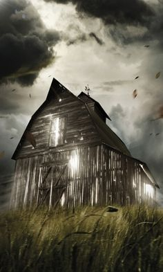 Barn Under Storm!!!!!!  --Barns Farms Churches....--  *WOW! great pic**