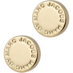 Marc By Marc Jacobs Logo Disc Stud Earrings found on Polyvore