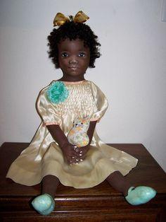 "Lrg 36"" OOAK Black cloth Doll Art doll , oil painted, by SueCS"