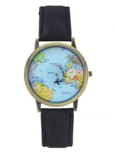 Faux Leather Airplane World Map Watch (Black) Other Accessories, Fashion Accessories, Map Watch, Watch Display, Quartz Watch, Airplane, Leather Watches, Jewelry Watches, Women's Watches