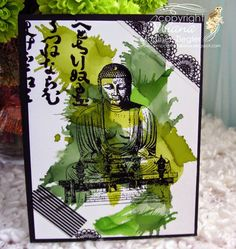front Zen card 50 shades of green alcohol inks