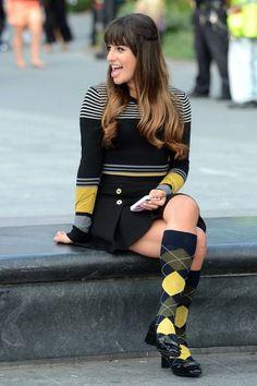 Lea Michele films Glee in NYC