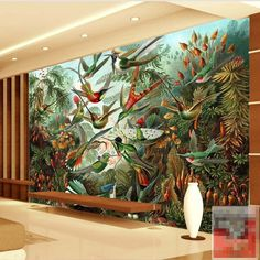 Free Shipping 3D Southeast Asian style retro hand-painted tropical rainforest Banana Leaf Restaurant sofa TV wallpaper mural