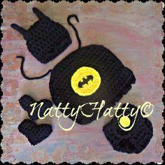 Batman hat cap diapercover and boots/newborn photo by NattyHatty, $48.99