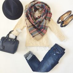 Plaid blanket scarf outfit // http://StylishPetite.com