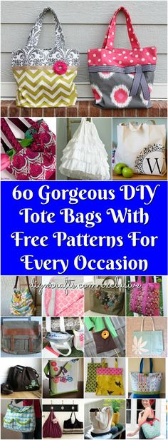 60 Gorgeous DIY Tote Bags With Free Patterns For Every Occasion - Some of these are no-sew!! Tutorial links included curated and collected by diyncrafts.com team <3 via @vanessacrafting