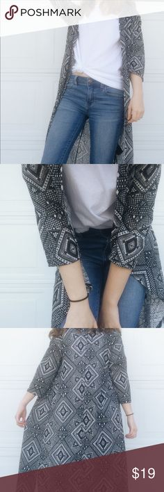 bohemian maxi sweater Cute maxi sweater   Tribal black and white print   Excellent condition--never worn   Will provide measurements if asked 💕 H&M Sweaters Cardigans