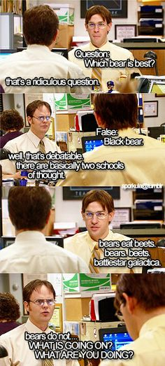 This will always be one of the best scenes in the show! the office quotes Tv Quotes, Funny Quotes, Funny Memes, Jokes, Girl Quotes, Movie Quotes, Daily Pictures, Funny Pictures, Office Memes