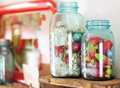 vintage tinsel garland & glass balls in vintage mason jars