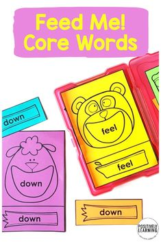 """Core Words Matching Centers - I use these """"Feed Me"""" sets in small groups to reinforce sight words, then move them to independent literacy centers. Three levels of differentiation built in - including an errorless learning option!"""