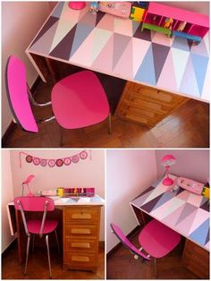 Capucine's desk, with a refurbished formica chair - love the table print