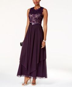 A wistful look for a wedding day, R & M Richards' dress is sweetly detailed with sequins and lace. | Dress/lining: polyester; lace: polyester/nylon/spandex | Hand wash | Imported | High crew neckline;