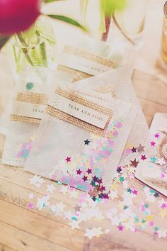 """We love this cute idea! Add some sparkles and fun to your wedding ceremony after you say """"I do"""". See more of the darling details dreamed up by Michelle Edgemont here. http://www.weddingchicks.com/vendor-guide/michelle-edgemont/"""