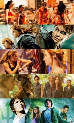 Hunger Games, Harry Potter, Divergent, The Mortal Instruments, Percy Jackson