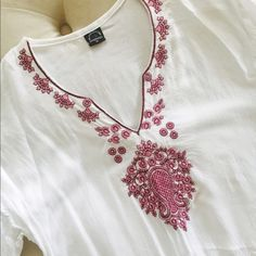"Tunic Tunic with pink embroidery. Purchased in Dubai. Worn once. Slits in the sides. 3/4 sleeve.  30"" length. Size medium but fits XS. Tops Tunics"