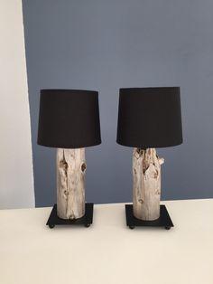 Lampes de chevet noires bois flotté
