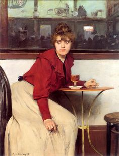 'Madeleine' or 'Au Moulin de la Galette', 1892 - by Ramon Casas. Spanish Painters, Spanish Artists, Manet, Ramones, Figure Painting, Painting & Drawing, Raoul Dufy, Traditional Paintings, Art Moderne
