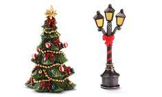 Miniature Fairy Garden Mini Lamp Post And Xmas Tree - My Fairy Gardens