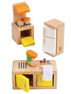 Wooden Dollhouse Kitchen Furniture