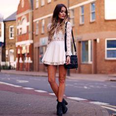 White Lace A-line Pleated Dress + Black Ankle Boots + Black Leather Crossbody Studded Bag + Studded Bracelet