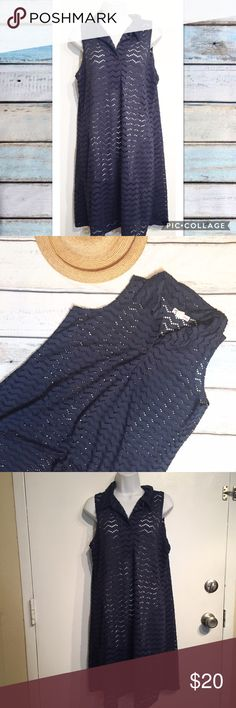Pacific Beach Navy Eyelet Swimsuit Coverup Dress Pacific beach navy Eyelet Swimsuit Coverup dress. One size. Single Button at bust. Perfect for lounging by the pool or on the beach this summer. No modeling. Smoke free home. I do discount bundles. Pacific Beach Swim Coverups