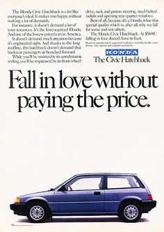 Classic Ad for the 1985 Honda Civic - hatchback