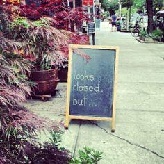 a store's chalkboard in brooklyn....