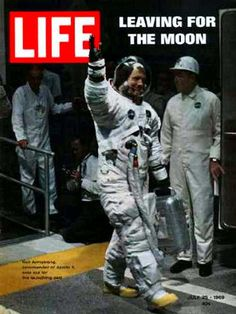 Neil Armstrong 'leaving for the moon' on the cover...