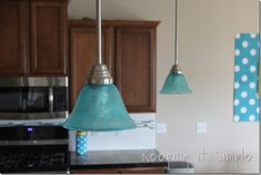 DIY Green or Rose-pendant-light-how-to-dye-a-light-shade: Rite Dye or Food coloring & Mod Podge Craft Painted onto glass. Diy Sofa Table, Diy Dining Table, Blue Pendant Light, Turquoise Pendant, Tons Clairs, Built In Sofa, Glass Light Shades, Diy Barn Door, Tile Installation